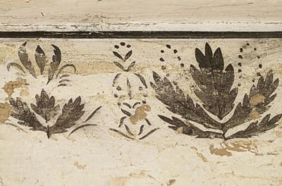 Hummelbibliothek, Detail: freigelegte Bordüre